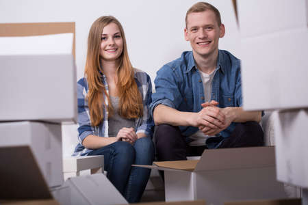 happy life: Young couple is happy because of their moving out Stock Photo