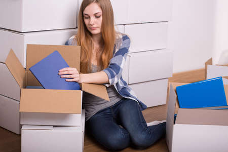 college dorm: Young girl is going at the university Stock Photo