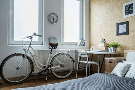Close-up of girl's bike in contemporary bedroom