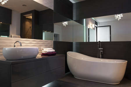 bathroom tile: Picture of elegant fixture in luxurious dark bathroom interior