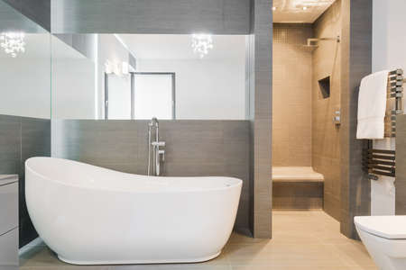 home lighting: Photo of big new design bathtub in spacious trendy bathroom