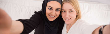 intercultural: Panorama of intercultural friendship between muslim and european