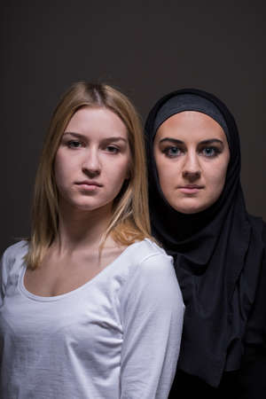 women friendship: Picture of international and intercultural friendship between two young women