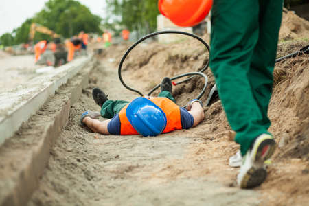 construction companies: Image of an accident on a road construction Stock Photo