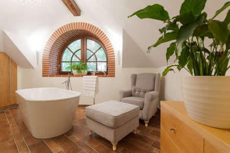 luxurious: Picture of luxurious stylish bathroom lounge with big bathtub
