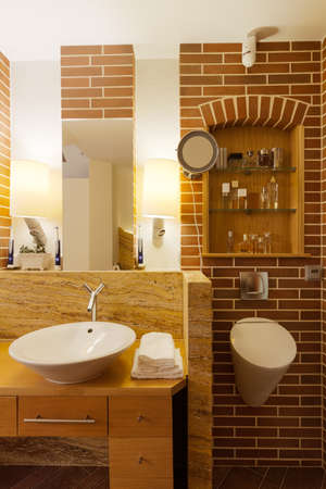 fittings: Image of new design bathroom interior with brick wall