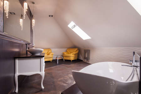 handbasin: Stylish bathroom in the attic of the house