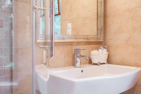 chromed: Close up of elegant washbasin and shower with chromed details