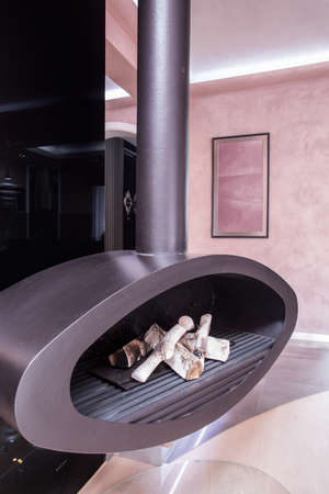 wood stove: Modern and tasteful fireplace in the house