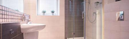commodious: Panorama of new design bathroom interior with elegant fixture