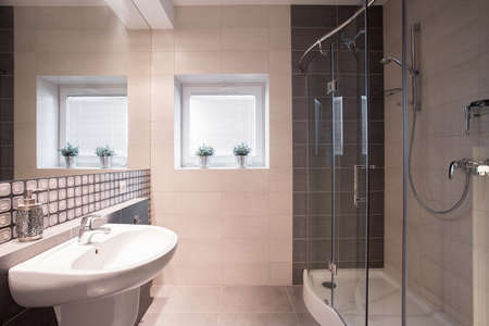 commodious: Image of fancy black and white bathroom with big shower