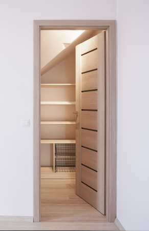 wood flooring: Photo of open wooden new style door Stock Photo