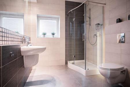 cuarto de baño: Foto del accesorio de sólidos en cuarto de baño nuevo estilo cómodo Foto de archivo