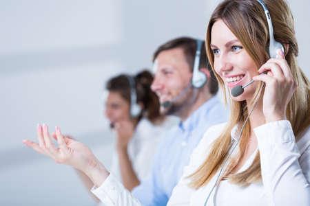 Picture of support phone operators in headset Archivio Fotografico