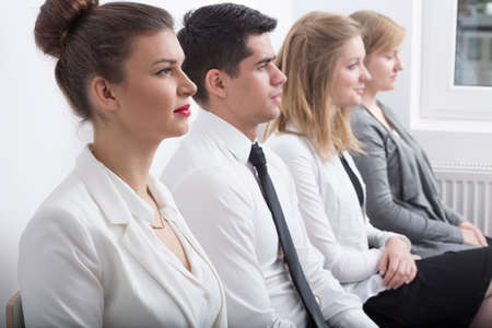 interview: Stressed people are waiting for job interview
