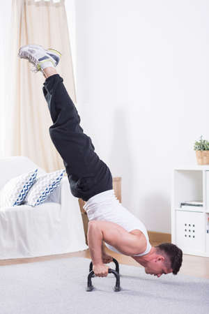 push ups: Picture of sporty man doing push ups