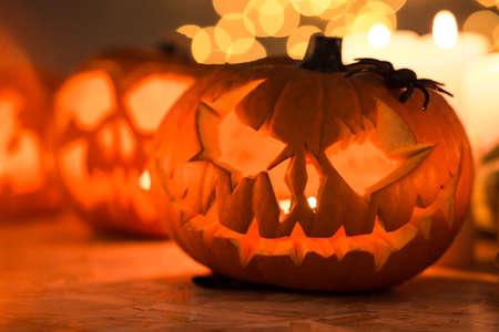 jack o  lantern: Close-up of illuminated jack o lantern pumpkin Stock Photo