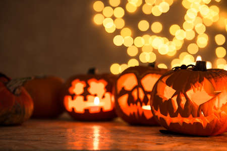 Halloween pumpkin lanterns - perfect decoration for Halloween Stock Photo