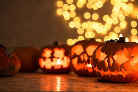 Linternas de calabaza de Halloween - decoración perfecta para Halloween Foto de archivo - 46243868