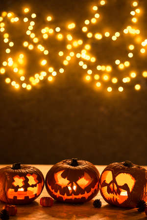 scary halloween: Halloween pumpkins jack-o-lantern - Halloween background