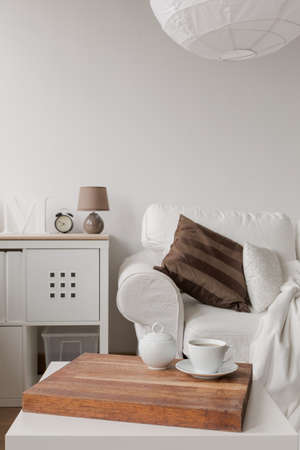 simple: Close up of simple white coffee table