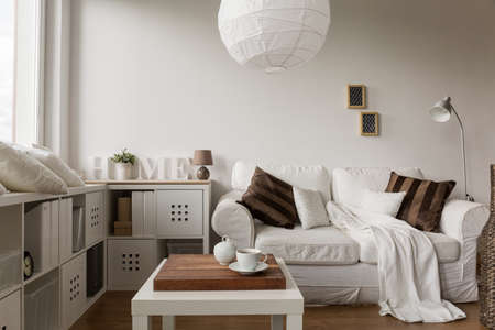 functional: Image of solid and functional white furniture in new style Stock Photo