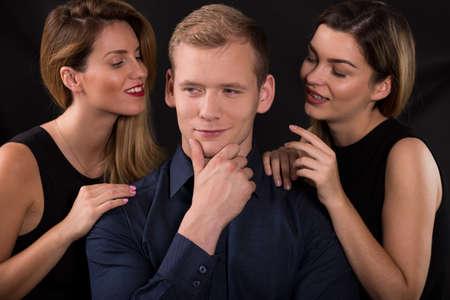 narcissistic: Picture of alluring women seducing narcissistic man