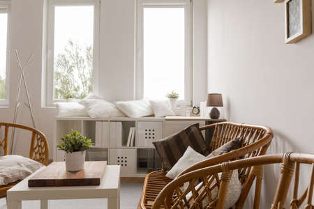 furnished: Image of neat furnished light interior in contemporary apartment