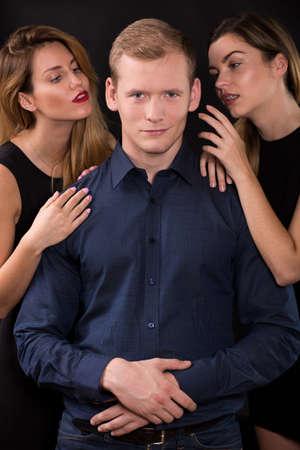 seductive women: Love triangle - seductive women tempting handsome man