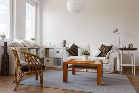 cosy: Image of cosy white living room in new style Stock Photo