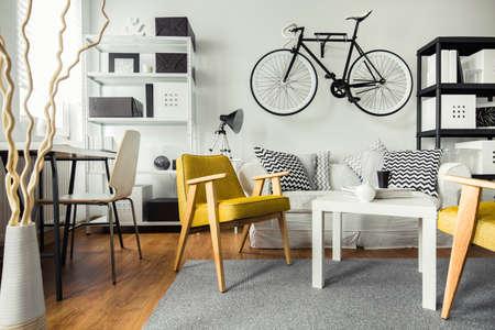 bicicleta: Interior de la sala de estar contemporánea para inconformista