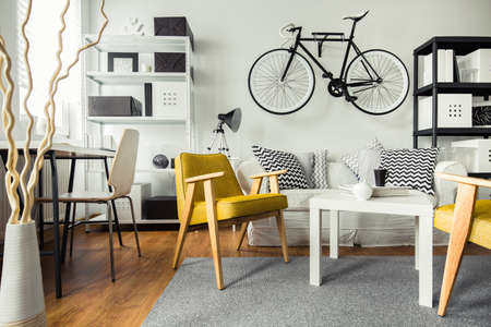 bicycles: Interior of contemporary living room for hipster