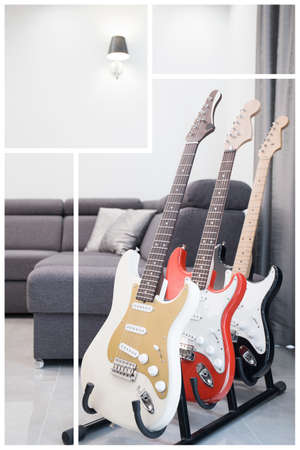 contemporary living room: Three electric guitars in contemporary living room