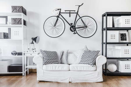 sit studio: Black and white contemporary interior in minimalist style Stock Photo
