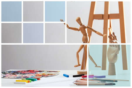 artists dummy: Creative picture of wooden mannequin in art class