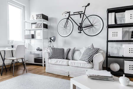 apartment interior: Modern black and white one room apartment