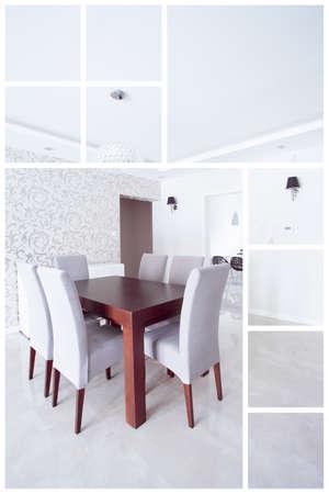 residence: Bright elegant dining room in luxury residence Stock Photo