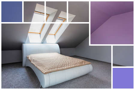 violet residential: Luxury bed in exclusive bedroom - squares, tiles