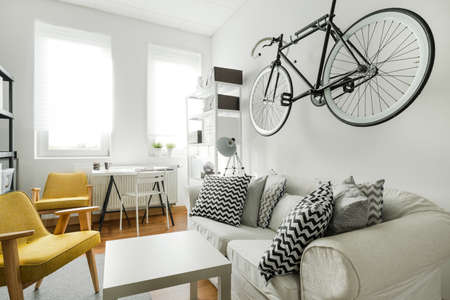 Interior of modern studio flat for hipster