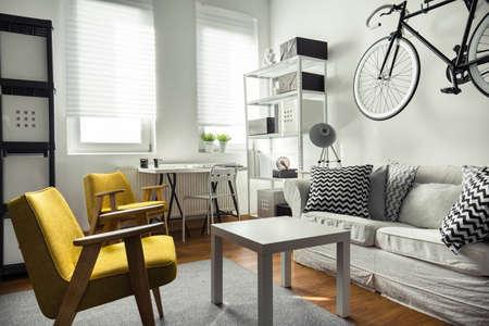 Mobili in stile contemporaneo in interno salotto