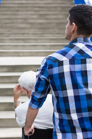 architectonic: Stairs - architectonic barriers for elderly and disabled people Stock Photo