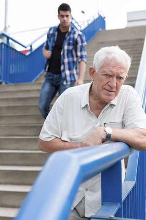 bad feeling: Vertical view of senior man feeling bad Stock Photo