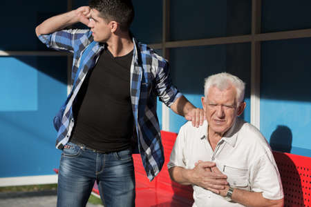grandson: Man with heart disease and caring grandson