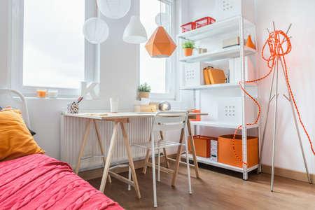 teenage: Bright modern study room for teenage girl Stock Photo
