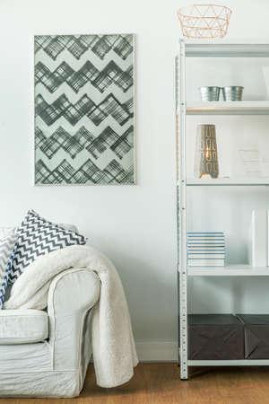 decorative wall: Modern decorative painting in minimalist studio flat Stock Photo