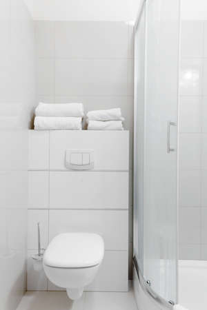 fixture: Photo of simply furnished white bathroom with solid fixture