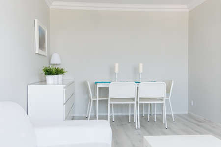 dinning table: View of a room perfectly clean for friends visit