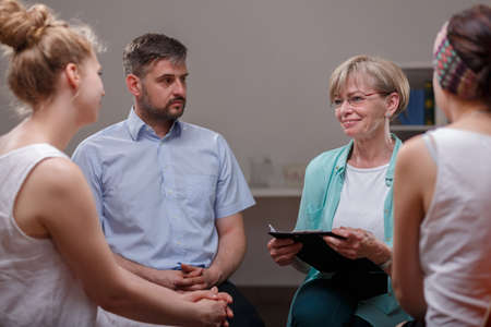 group discussions: Meeting of support group in psychotherapists room