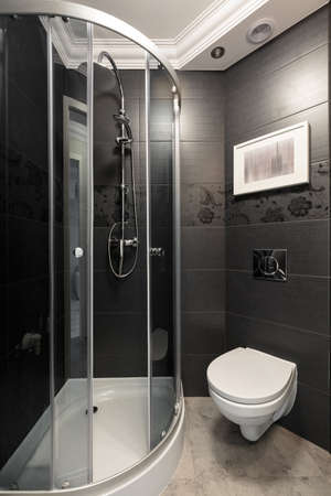 accents: Image of little grey bathroom with chrome and white accents