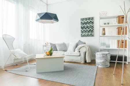 Trendy furniture in small cozy living room Foto de archivo